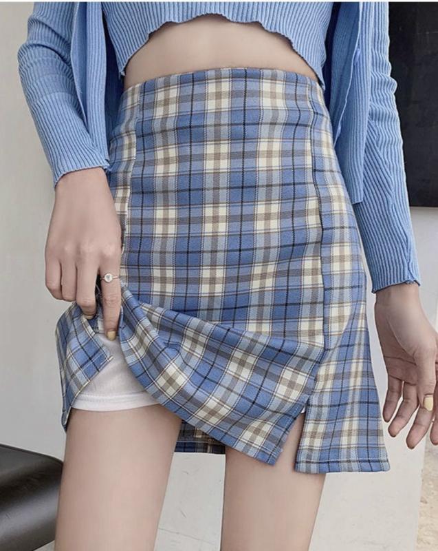 La alta cintura de la tela escocesa de Split Mini falda de las mujeres de una línea elegante atractivo delgado de las faldas cortas ocasionales de la manera del club del partido Bottoms con cierre de cremallera