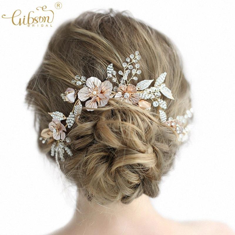 Floreale dell'oro capelli nuziale Vite E Pin di Bobby dei capelli delle donne dell'ornamento fascia promenade di nozze Accessori copricapo TE4g #