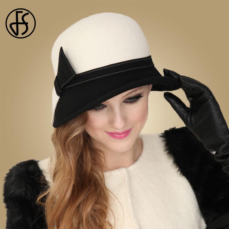 FS Aba larga branca de lã Chapéus Bow Bowler Hat Fedora Para Mulheres Chapeau Femme Feutre Inverno Cloche Ladies Igreja Felt Fedoras Caps T200723