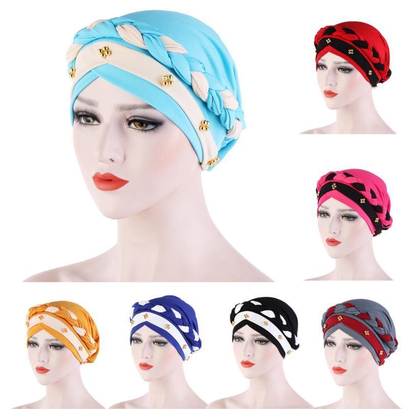 Nouveau Femmes élastique Turban Chapeau musulman Hijab islamique Perle Chemo Cap Braid Hijabs extensible tête Wrap tête d'enveloppe d'écharpe Bonnet Foulard