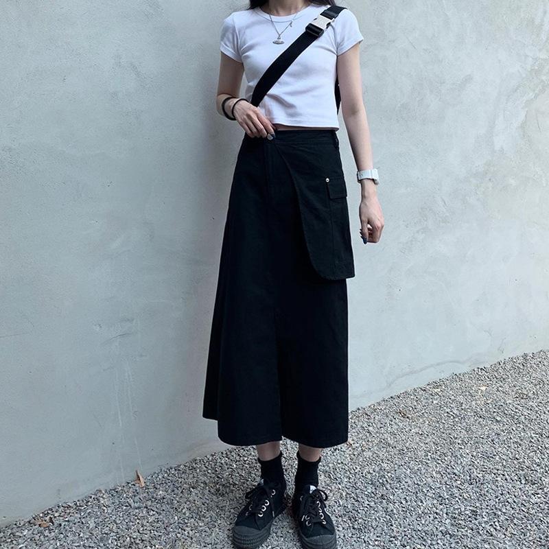 iQd6C Season 2020 new commuting long long skirt high waist loose design sense split pocket Medium-length dress solid color skirt female stud