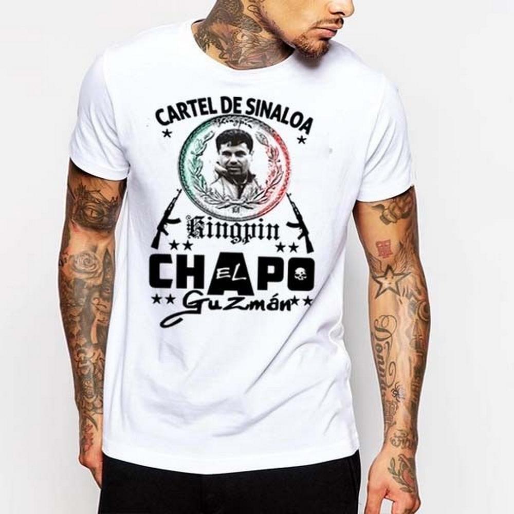 إل تشابو جوزمان تي شيرت سينالوا كارتل العصابات القتلة المأجورين المكسيكي قاتل المخدرات القطن المحملة القميص أزياء نمط كلاسيكي