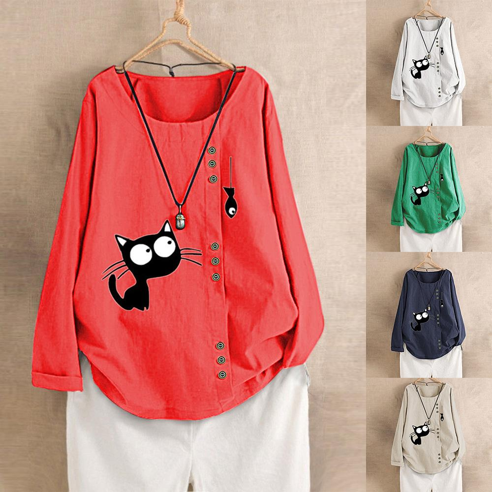 Women Spring Summer Fashion Korea Style Oversized Long Sleeve Cotton Linen Fabric Cat And Fish Printing Cute Tshirt Casual Tees MX200721