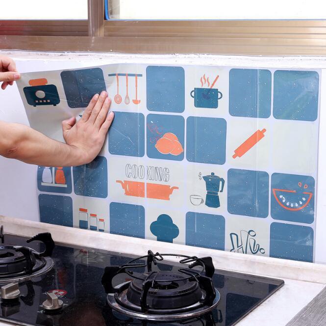 45x75cm haute température Résistance-bâton automatique Autocollant Mural feuille d'aluminium huile Résistance amovible Hearth Tile Fonds d'écran Home Décor HA1020