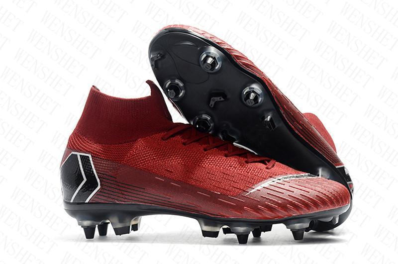 أحذية الرجال SG كرة القدم المرابط المعدنية الأزرار رمادي الشيكات ال superfly النخبة نيمار أعلى عال في الهواء الطلق لكرة القدم رونالدو CR7 زئبقي لكرة القدم أحذية D0805