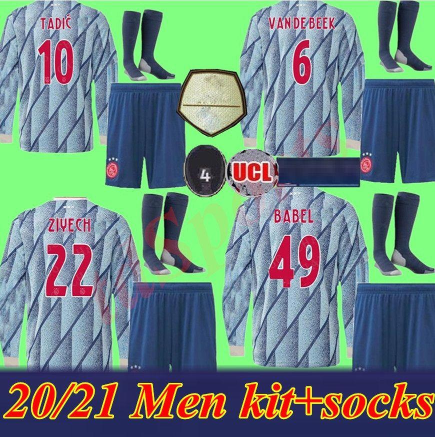 2020 2021 mangas largas kit adultos AJAX casa fútbol jerseys de distancia Camisa Ajax 20 21 # 10 # 22 TADIC ZIYECH hombres uniformes de fútbol