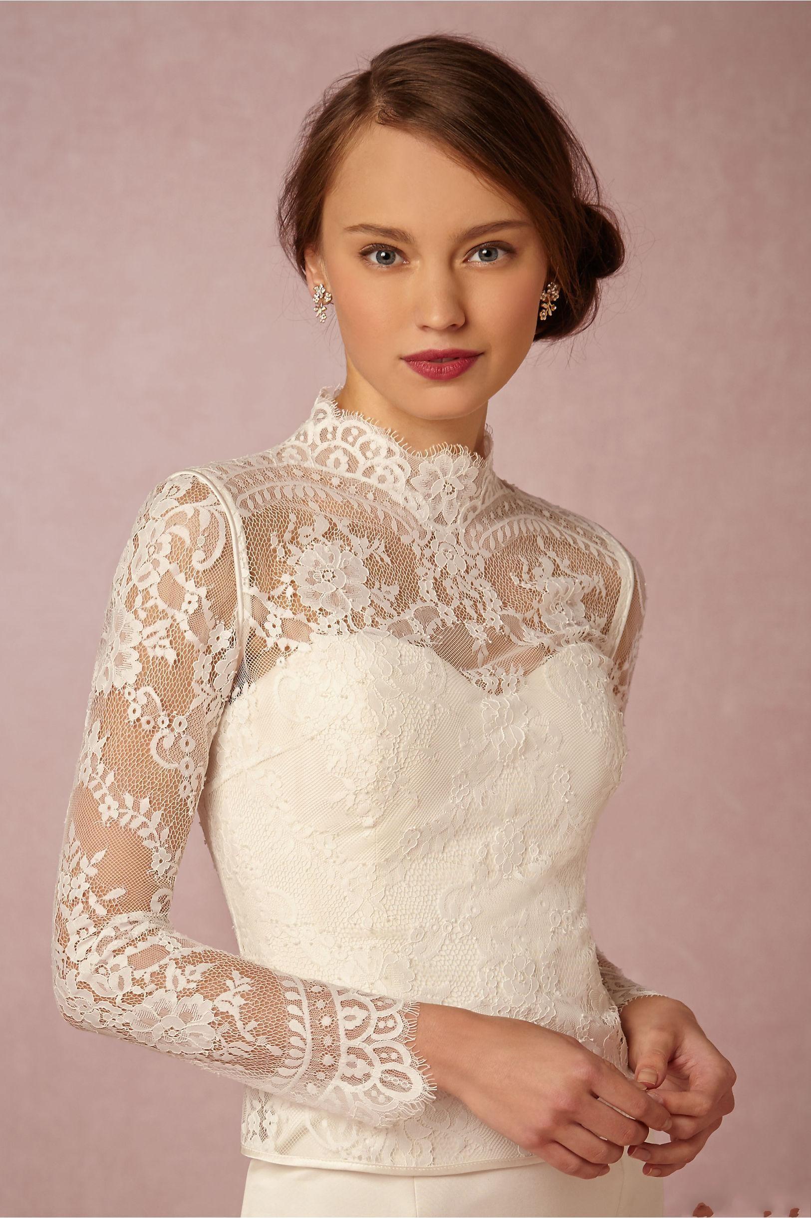 2020 à col de mariée Wraps Manches longues mariage Applique dentelle boutons Vestes pas cher mariée veste boléro taille plus fait sur mesure