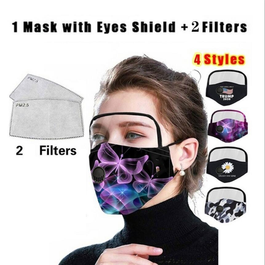 2 in 1 Maske Removable-Augen-Schild-Maske Adult Trump Ventil Gesichtsmasken Vollgesichtsöl Schutzmaske mit 2 Stück Filtermatte CCA12327