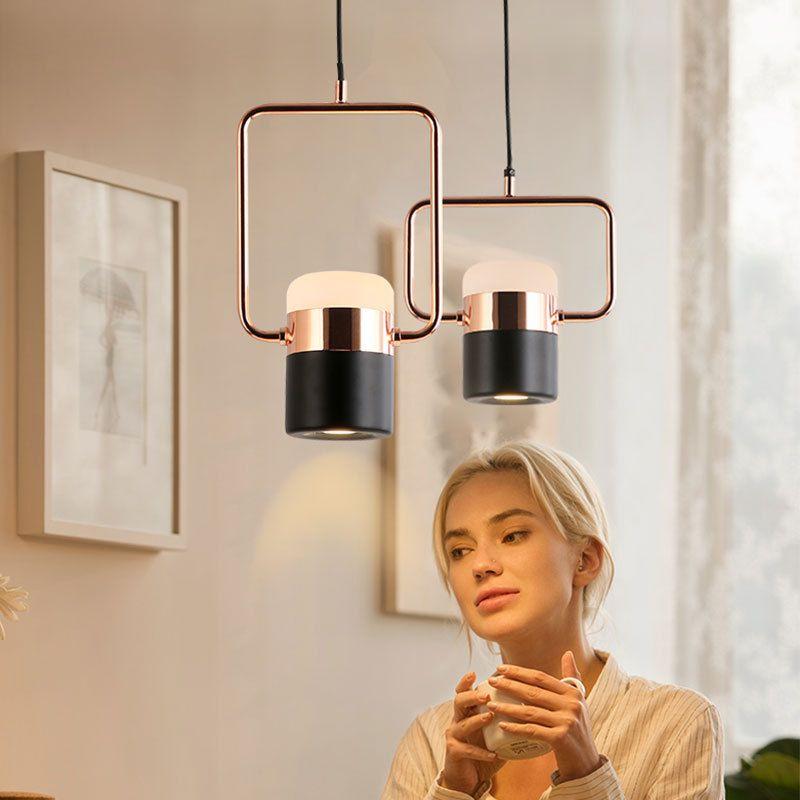 Постмодерн минималистских розового золота вращающегося подвесной светильник кофе ресторан магазина прикроватной золото LED круглой долго водить канделябр RW295