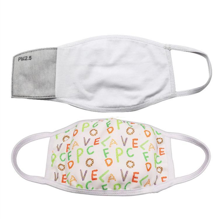 Auf Lager Blanks Sublimation Gesichtsmaske Erwachsene Kinder mit Filter Tasche kann PM2.5 Dichtung Staub Prevention Put Für DIY Transferbild
