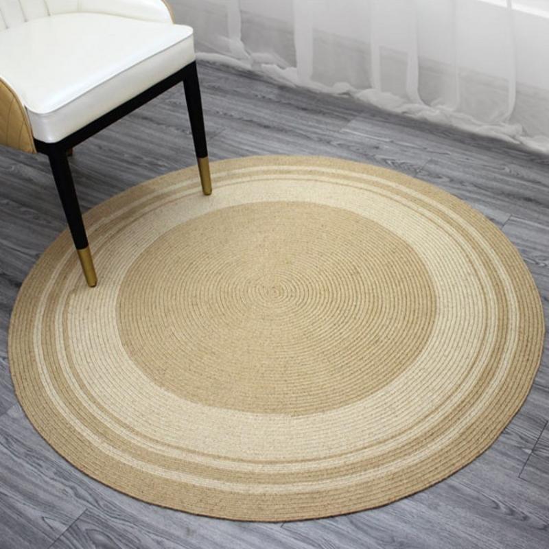 Qualità naturale iuta zona artigianale tappeto, rotondo in stile giapponese a forma di tappeto comodino decorativi, stuoia fredda per l'estate