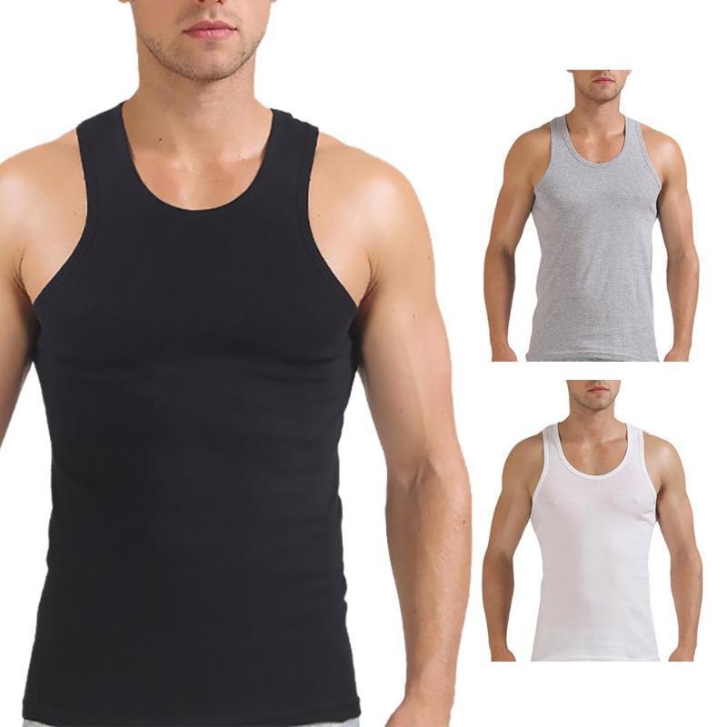 Мужчины Модные Casual Summer Sexy Спорт на открытом воздухе сплошной цвет хлопка жилет Top