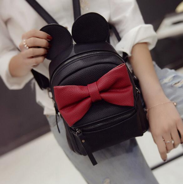2017 New Baby Girls Kids Backpack Cartoon Cute Butterfly Knot Backpack Princess Mini Bag Bow Mouse Ears Black Pink Gray Best Laptop Ba LiLk#