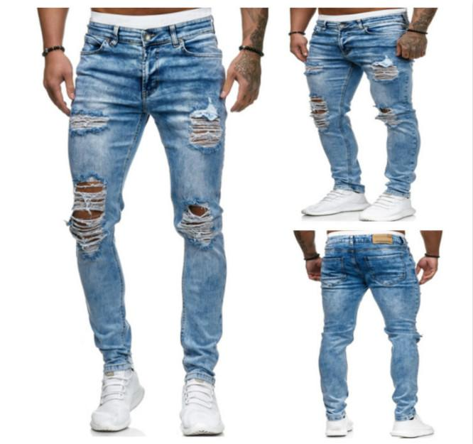 Men Designer Jeans Mens Fashion Distrresses Hole Skinny Jeans Men Trend Solid Color Pencil Pants Boy New Designer Slim Long Pants