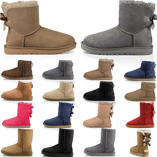 Women Outdoor Shoes Winter Snow Boots Classic Short bow Ankle Knee Booties Black Red Brown Womens Lady Girl Boot Keep Warm Size 5-10