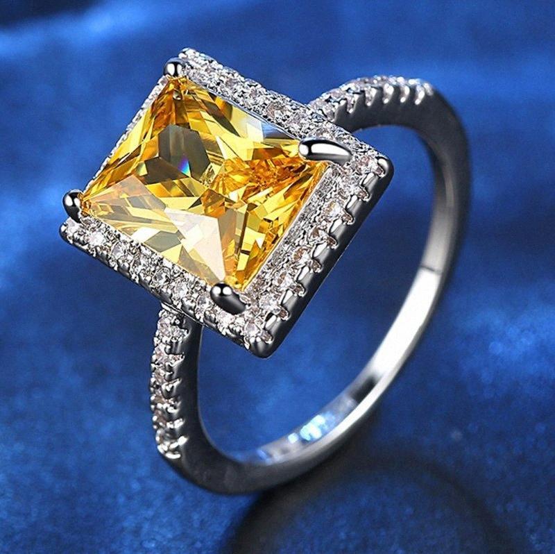 multa nuovo di vendita caldo zircone piazza oro champagne femminile esagerato gioielli zircone anello giallo mquN #