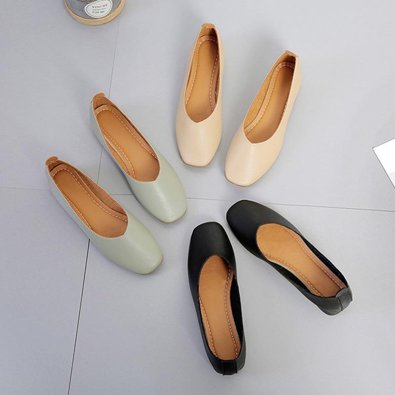 Low Heel Mocassini inferiore morbido PU di cuoio di modo della punta aguzza Shoes flessibile Donne Donne Flats