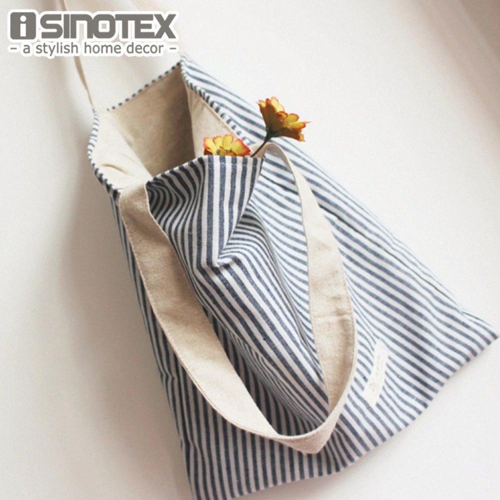 Sripped armazenamento Tote Bag CottonLinen azul sacos para Shoulder Mulheres Bolsas 35 * 38 * 8 cm / 13,8 * 14,9 * 3 '' 1 PCS / Lot F48V #