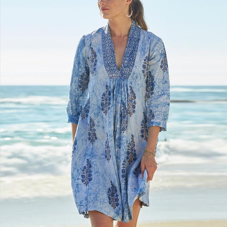kkGpz лето новая мода цветочный принт V-образным вырезом с коротким рукавом женская одежда лето новой моды цветочный принт V-образным вырезом с коротким рукавом женщин платье