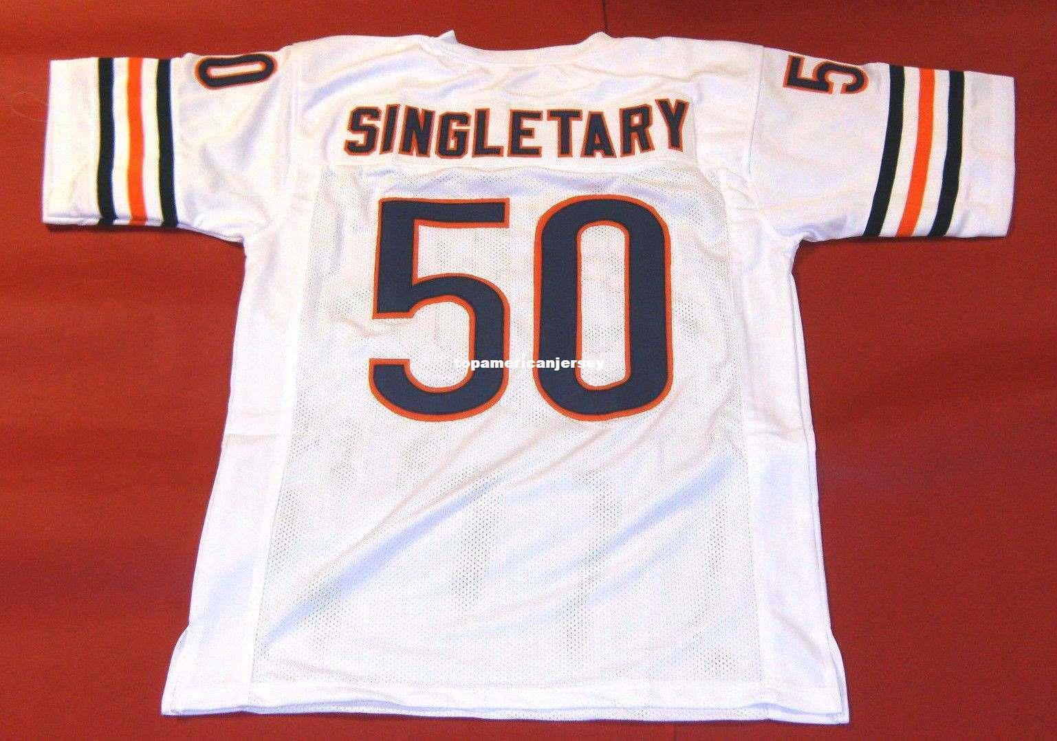 Ucuz # 50 MIKE Singletary ÖZEL MITCHELL NESS Jersey beyaz Mens Dikiş Üst S-5XL, 6XL Futbol Formalar Running Retro