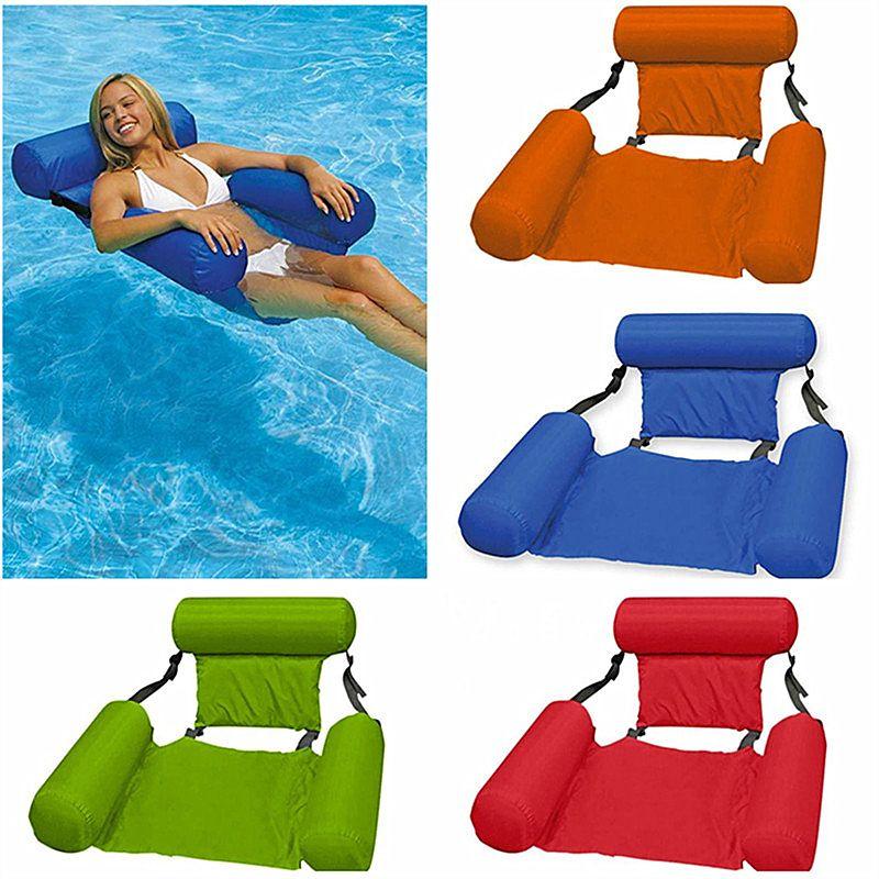 Mode Floating Stuhl Sommer Aufblasbare Faltbare Floating Row Strand Schwimmbad Wasser Hängematte Meer Fun Spiel Spielzeug Schwimmbettstuhl 100 * 120