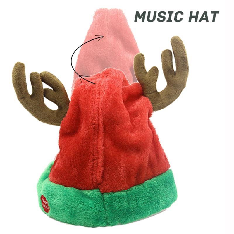5 Choice 2020 Musical Bell Christmas Santa Antler Hat Singing Dancing Moving Electric Antler Hat Plush Adult Winter Warm Gif