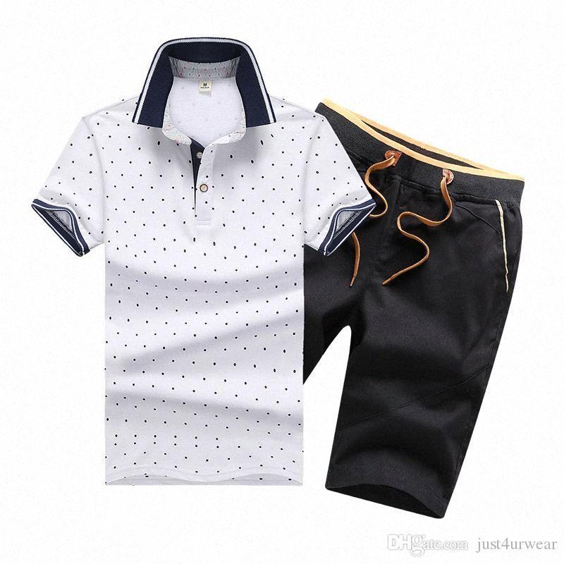 Hommes d'été Survêtement Imprimé Homme Sportsuit Lapel manches courtes manches Pull avec un pantalon Jogger Casual Costumes CWPI #