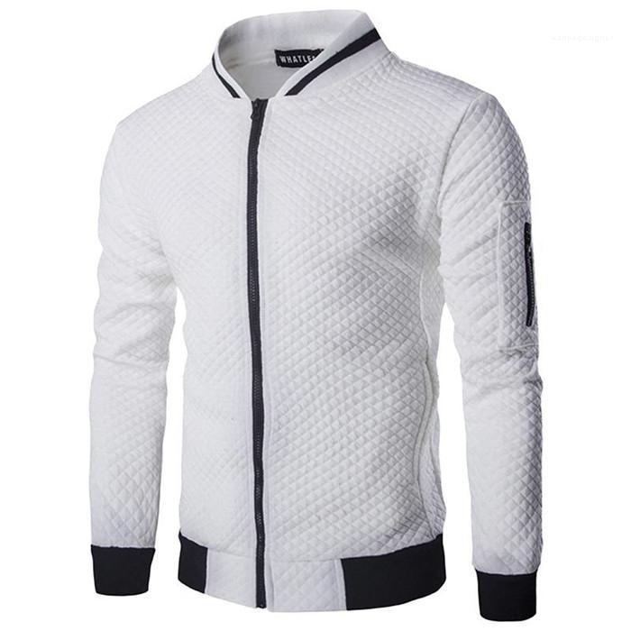 Maschio Jacket Mens Zipper stand colletto della giacca solido di colore a maniche lunghe Slim Fit Primavera Autunno Coat