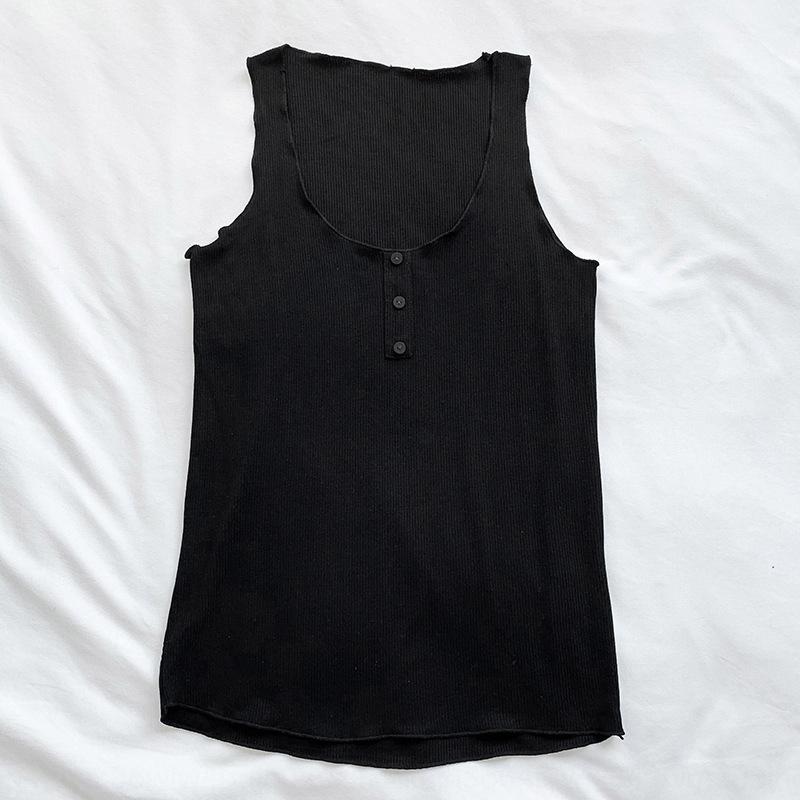 2Tayq 2020 Yaz yeni düğme stili düz renk iplik Koreli gömlek yelek taban büyük yuvarlak Top'un kolsuz Yelek gömlek boyun üst
