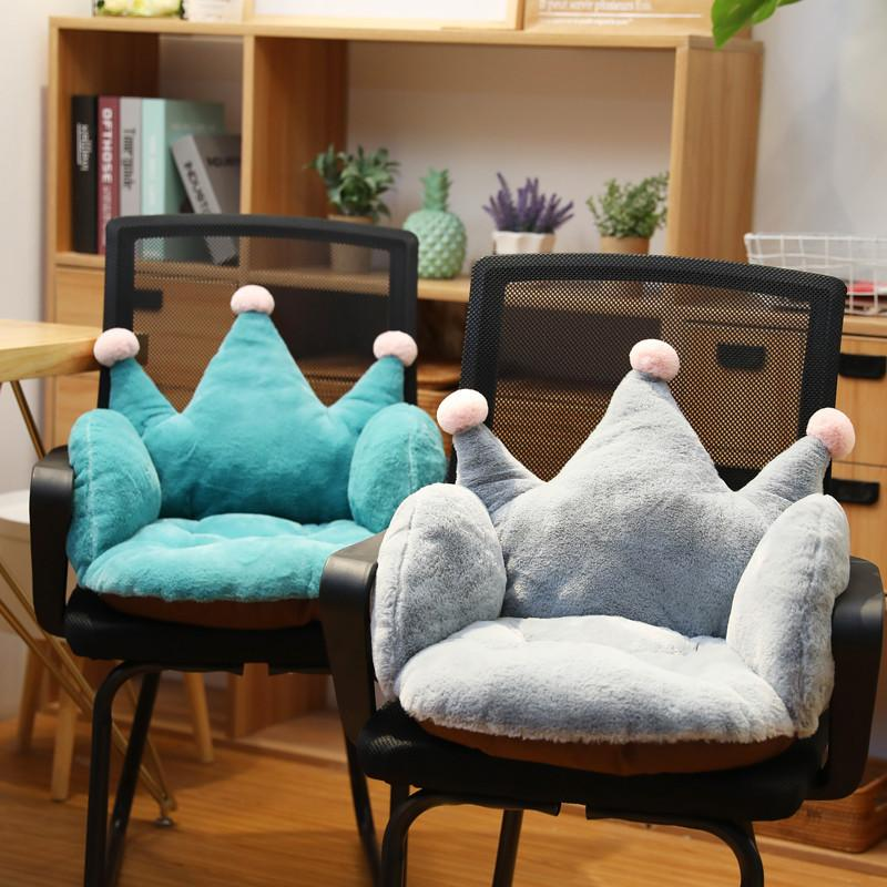 A forma di corona peluche cuscino Bunny Fur farcito molle ammortizzatore di sede Divano sedia Schienale Rosa Blu Grigio Gli adulti bambini 55 * 40 * 40cm MX200716