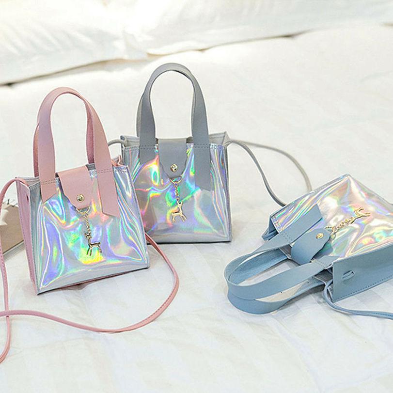 Kadın Pvc Holografik Çanta Temizle Şeffaf Hasp Küçük Bez Hologram Çanta Çanta Drop Shipping İyi Kalite Yeni Moda