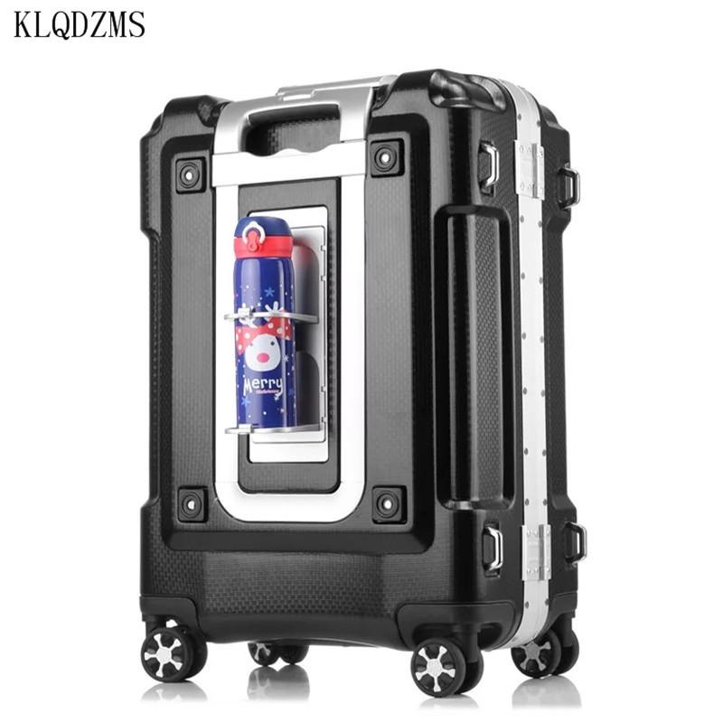 "KLQDZMS KLQDZMS 20""24""29inch aluminum frame rolling luggage spinner on wheel men women carry on travel suitcase trolley bag CX200718"