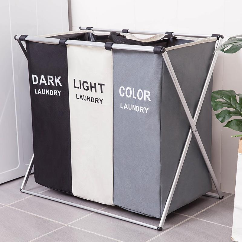 Dirty Clothes Storage Basket Three Grid Organizer Basket Collapsible Large Laundry Hamper Waterproof Home Laundry Basket
