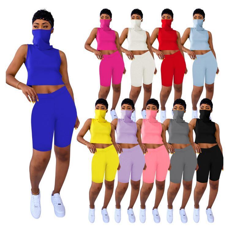 10 couleurs d'été Femmes 2 deux pièces Survêtements Gilet sans manches avec masque facial moulante Biker Shorts Casual Sports Tenues Set S-XXL
