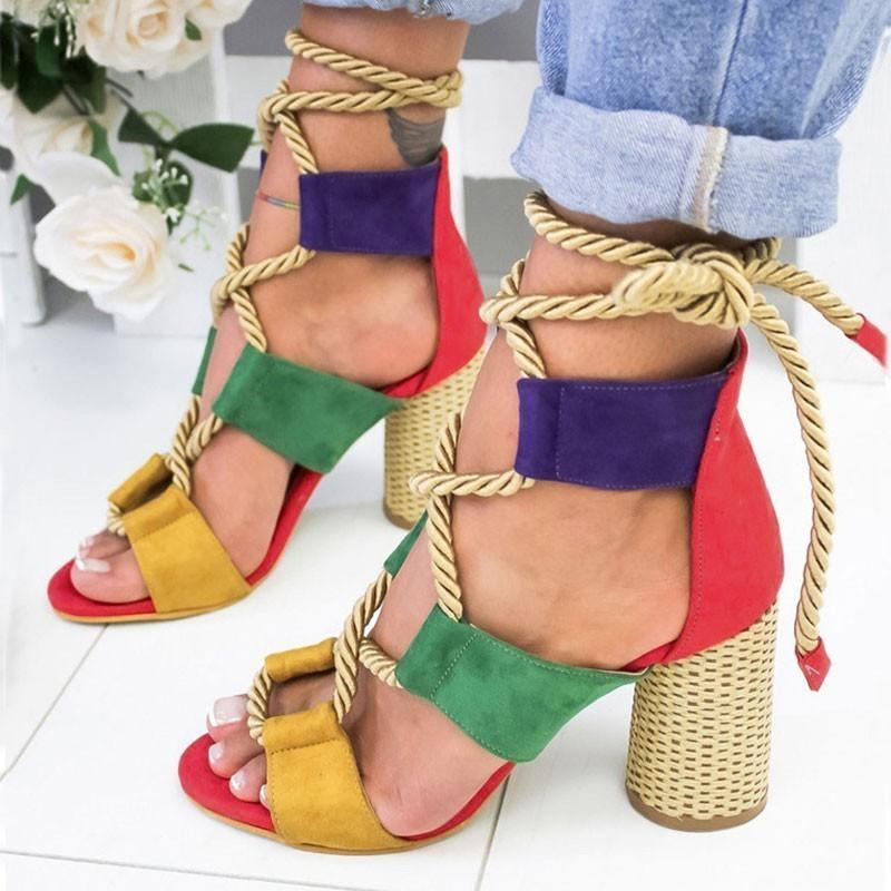 Femmes Sandales Chaussures lacées été femme talons sandales Pointu poisson bouche Gladiator Sandales femme Pompes Chanvre Corde Escarpin Y200620