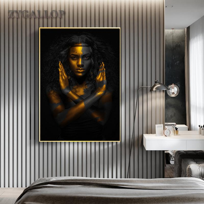 Gold Black Woman Canvas Painting African Art Woman Posters Modern Paintings for Living Room Wall Pictures Home Decoration Cuadro