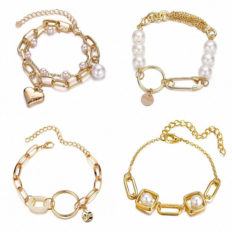 Korean Round Buckle Herz-Rosen-Blume Unregelmäßige Imitation Pearl Gold-Armbänder für Frauen-Mädchen-Armband-Armband-Partei-Schmucksachen Geschenk TOwf #