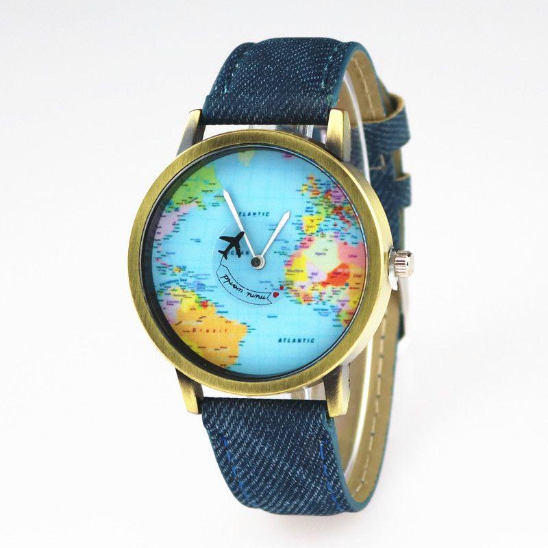 Mini Welt Flugzeug Kartendruck Cowboy Lederuhr für unisex Studenten Frauen Mens kleiden Quarz-Armbanduhr-Geschenk Uhr