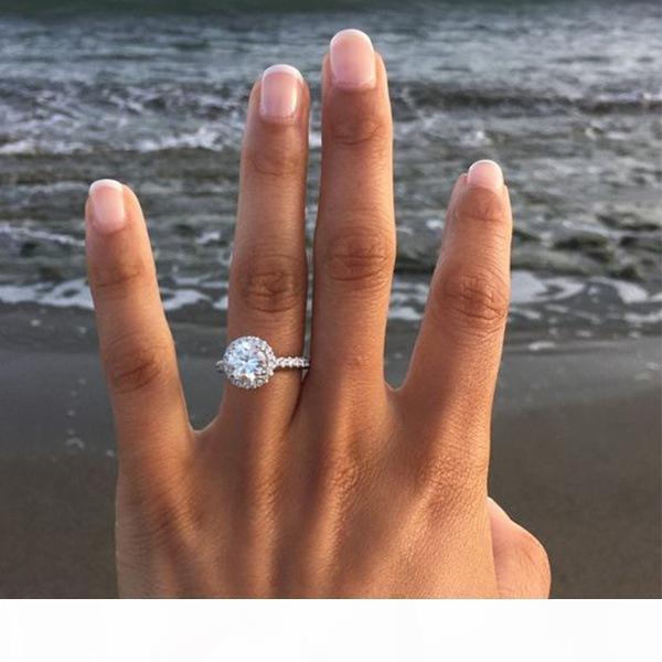 Düğün için Yeni Bir Kadın Alyans Moda Yuvarlak Taş Gümüş Alyans Takı Simüle Elmas Yüzük
