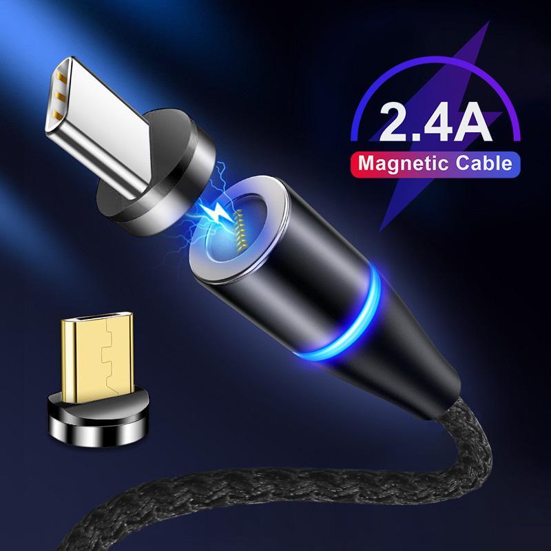 مغناطيس من النوع C مايكرو كابلات USB شحن سريع نايلون المغناطيسي USB كابل لسامسونج هواوي السريع لجميع الهواتف النقالة شحن سريع