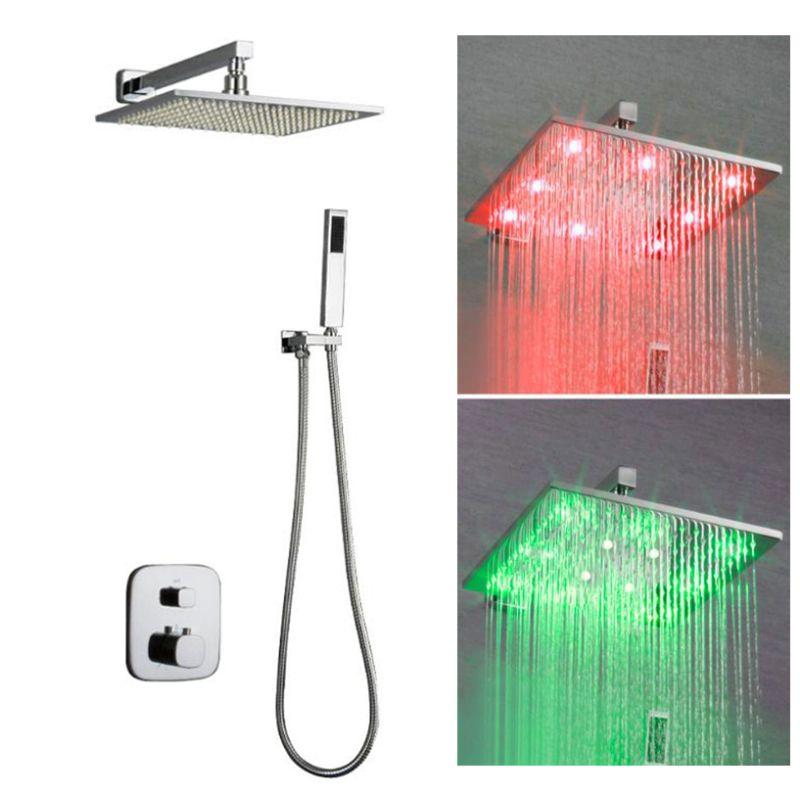 온도 조절 욕실 샤워 시스템 2 웨이 숨어서 수전 믹서 설정 LED 색상 변경 수력 레인 샤워 헤드
