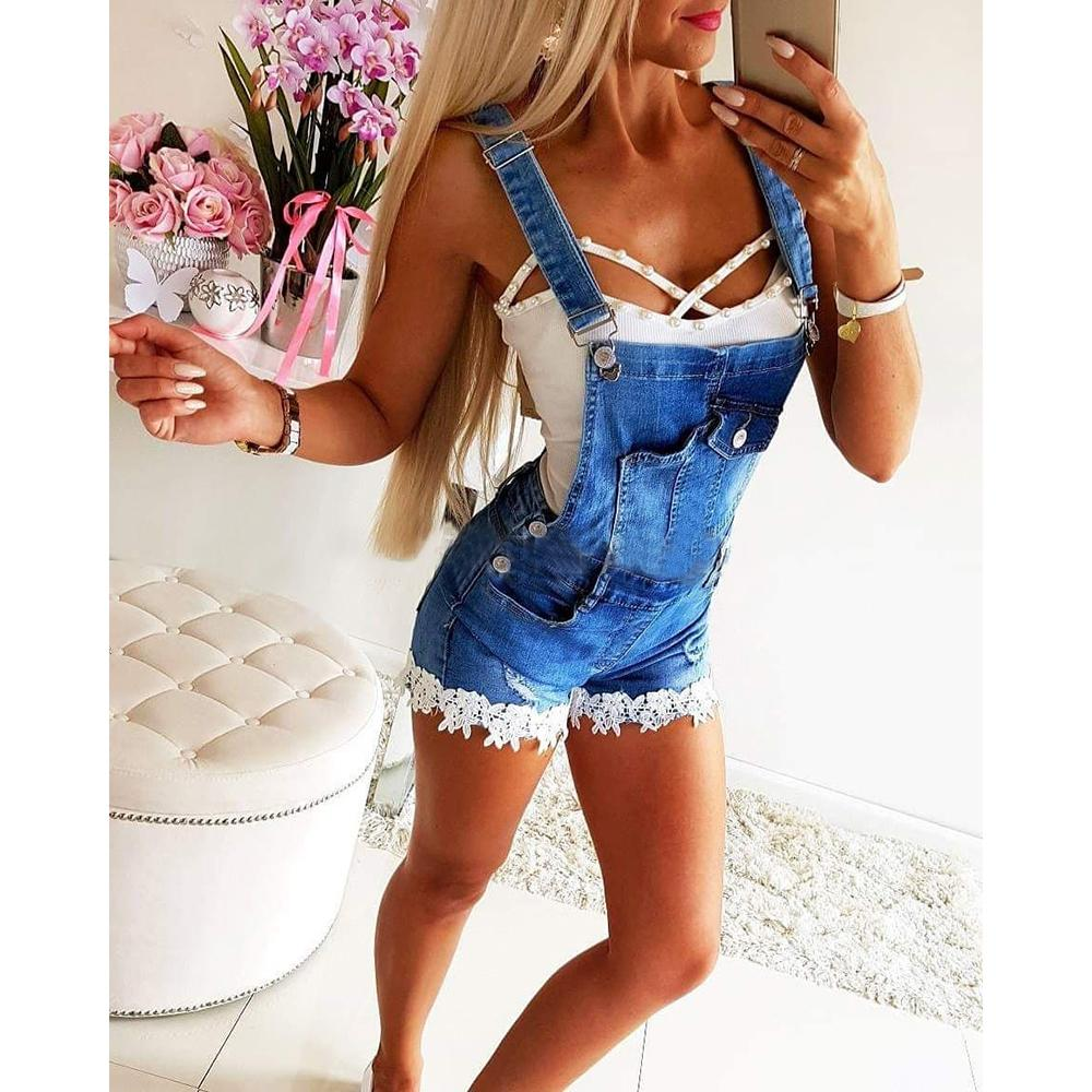 بيع ملابس النساء الصيف Playsuit عارضة السيدات السروال القصير الدينيم سروال المريله قصيرة حللا الشارع الشهير ممزق Playsuits رداء العمل T200723