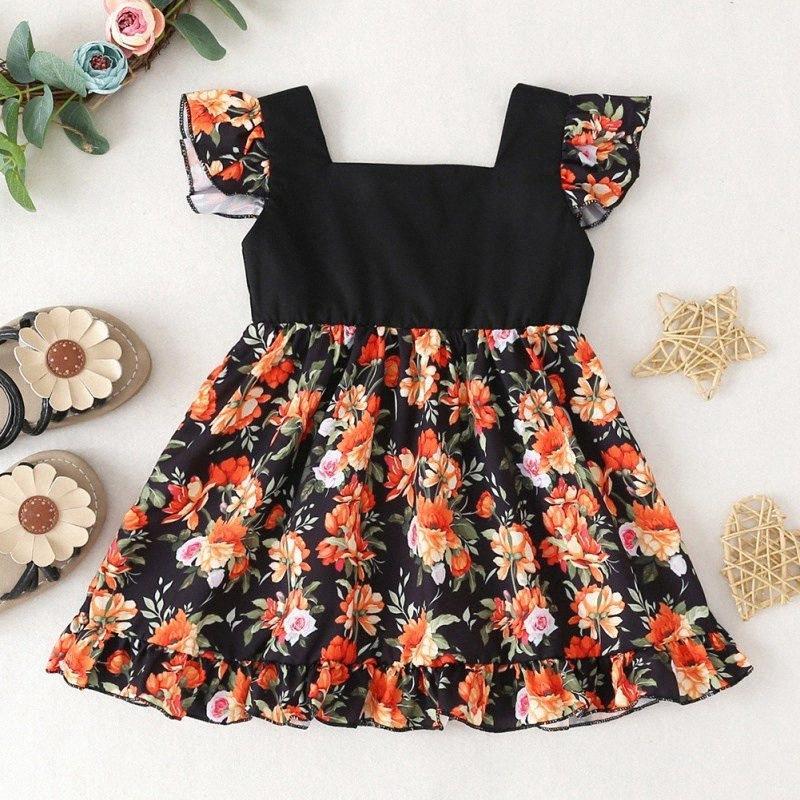 Girl Dress bambino senza maniche Summer Flower Stampa vestito infantile Bambino Carino principessa floreale Abiti YlFd #
