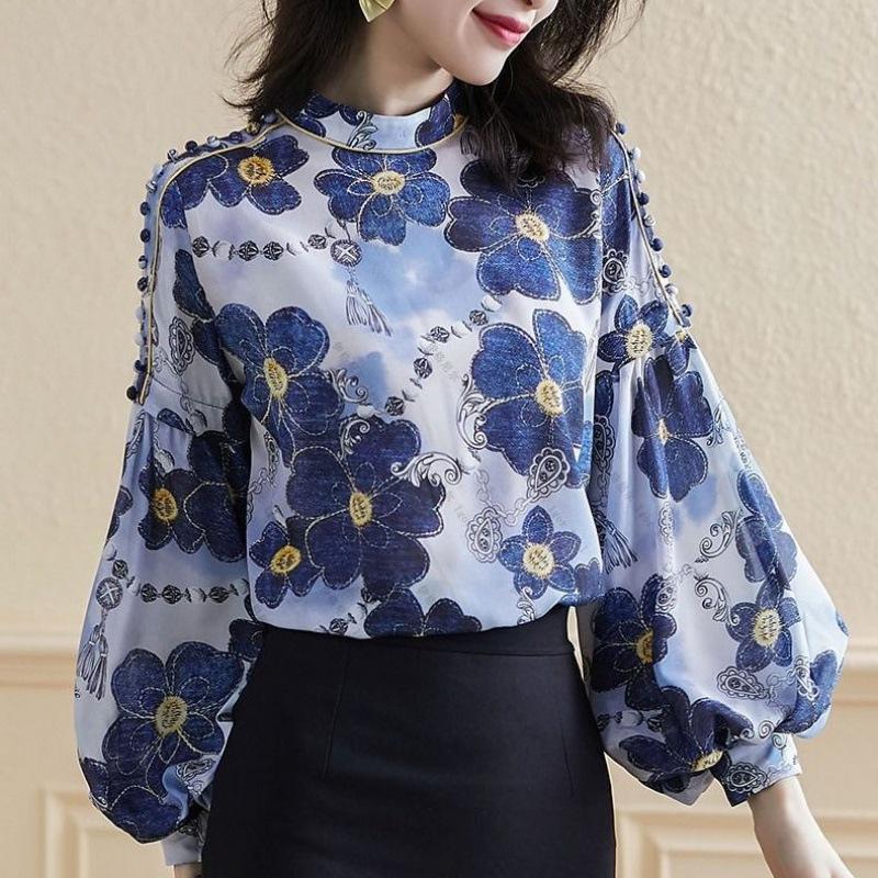2020 primavera y el verano de la nueva manera de las mujeres blusa elegante de la impresión floral de la gasa de las señoras de la linterna de la manga camisas retro tops para mujer