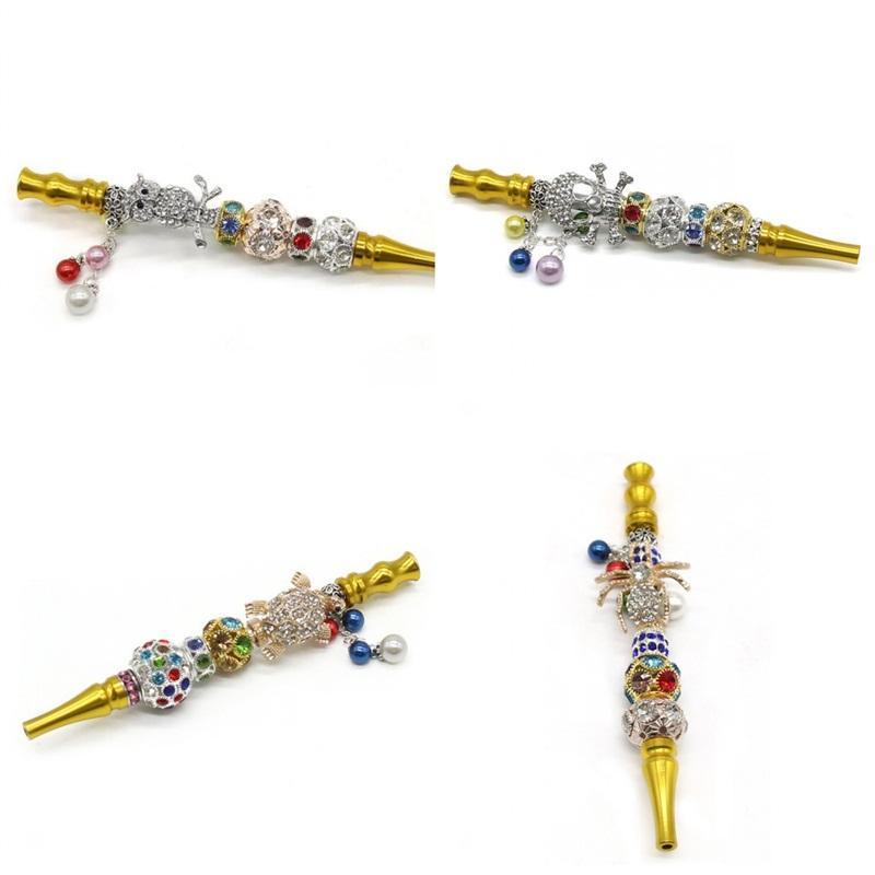 Titular de lujo de oro Cachimbas puntas de metal Animal cráneo pipa de narguile Shisha mujeres de los hombres fumadores Cristales tortuga araña 20jka D2