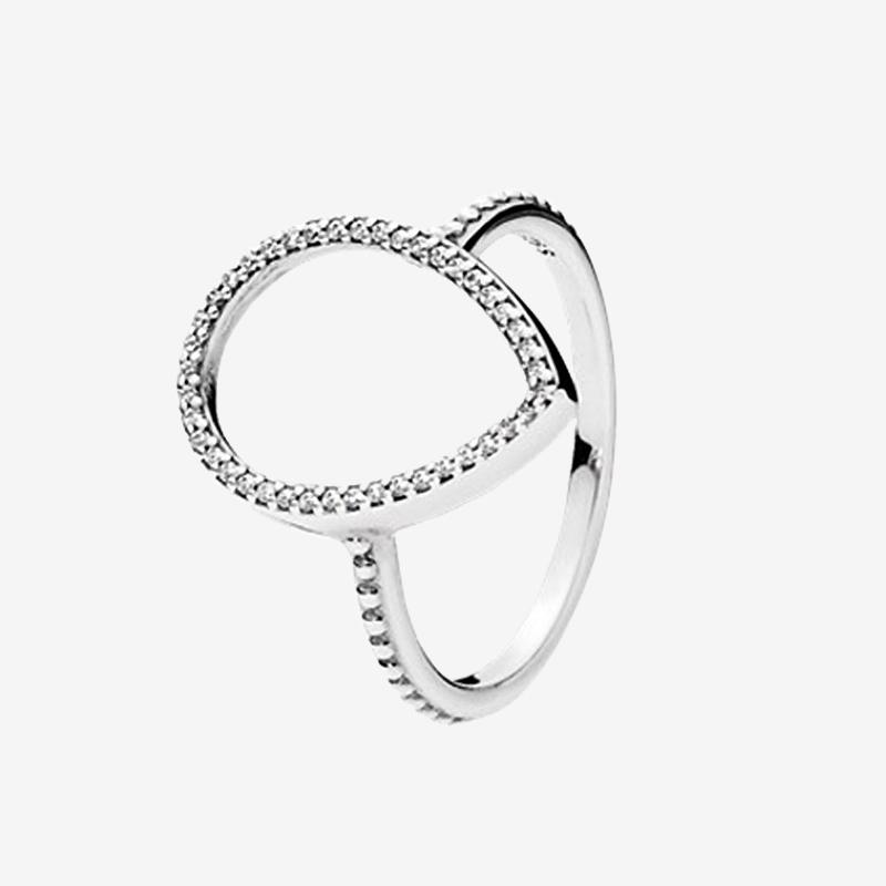 Teardrop oco Silhouetete Anel CZ jóias com diamantes das mulheres para Pandora de prata esterlina 925 do casamento com grupo da caixa Original
