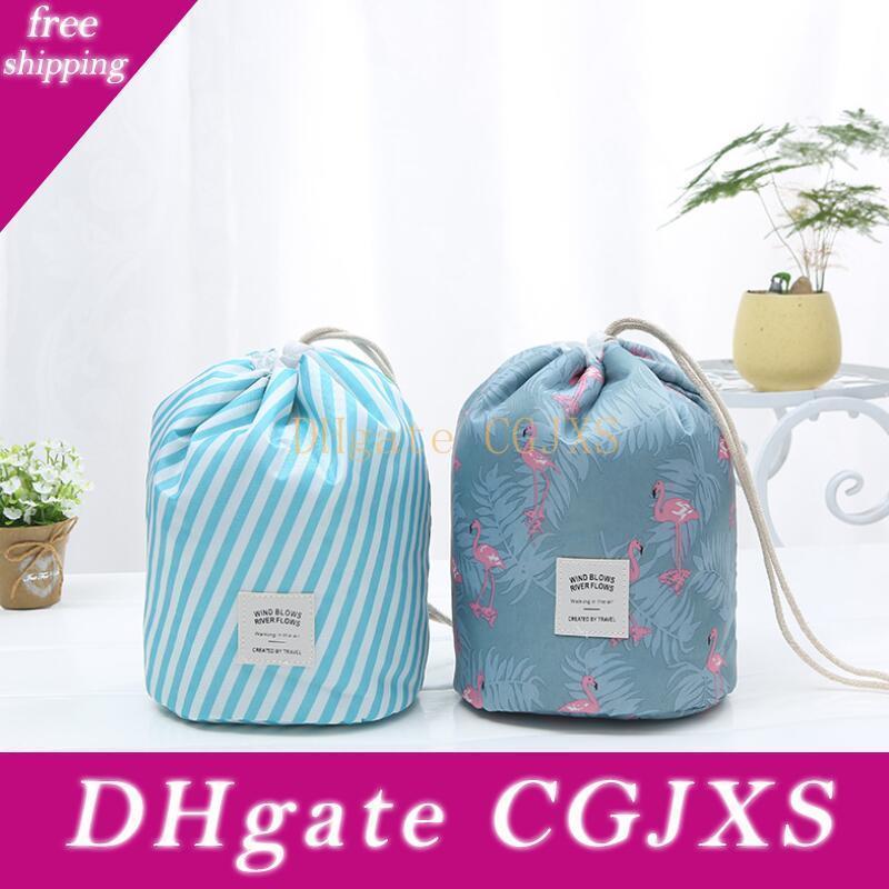 Korean elegant large capacity Barrel Shaped Nylon Wash Organizer Travel Dresser Pouch Cosmetic Makeup Storage Bag For Women LX8798