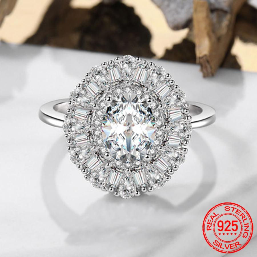 Real 925 Sterling Silver Ring Oval 6*8mm Moissanite Gemstone Wedding Engagement Ring Fine Jewelry Gift Wholesale XR438