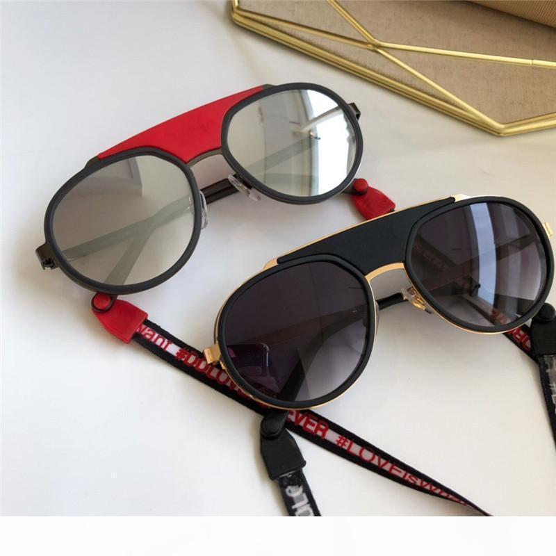 Halat Renk Kaplı Mercek Avant -Garde Pop Stil UV400 Lens Top ile E Yeni Moda Kadın Lüks Tasarımcı Güneş 2210 Yuvarlak Retro Çerçeve