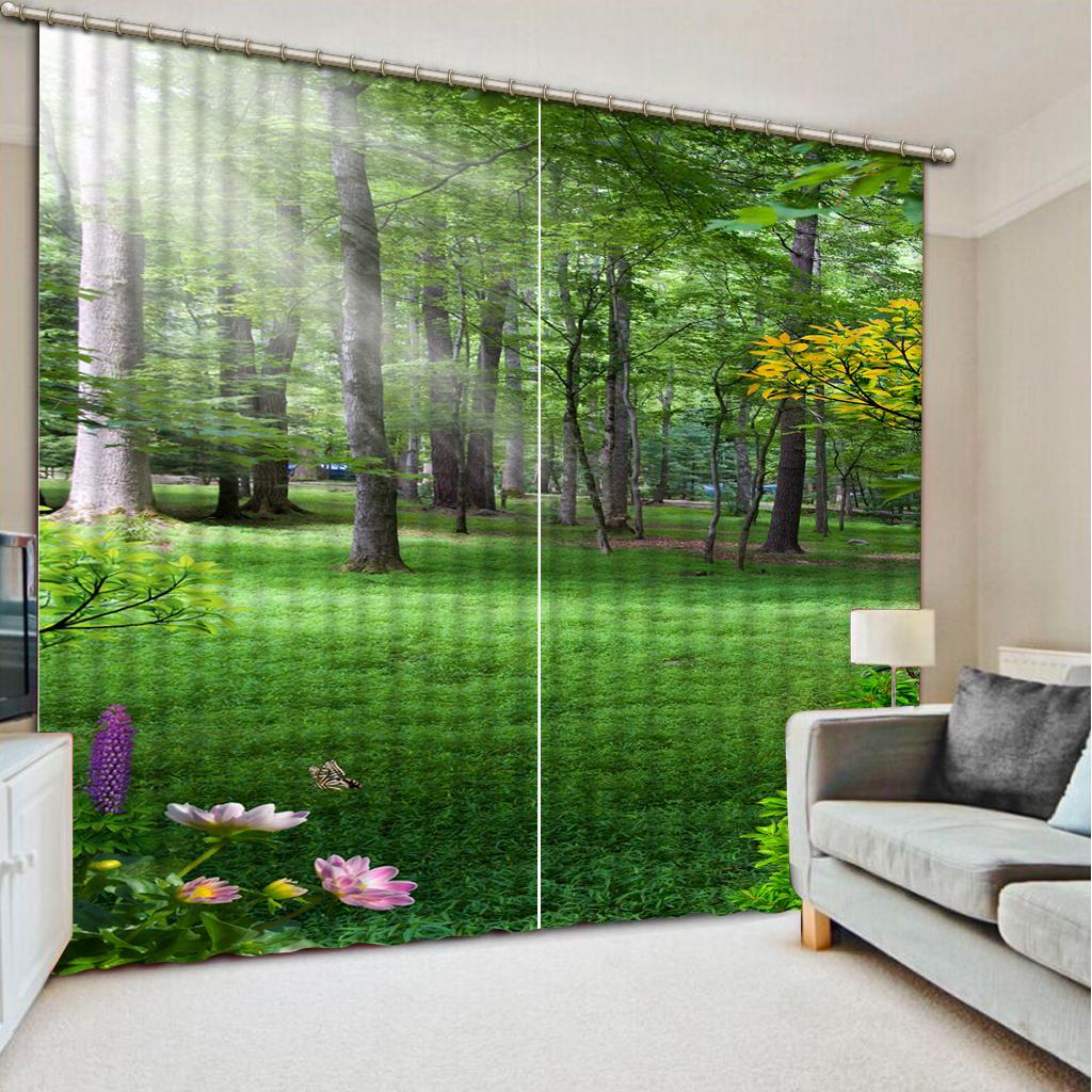 3D Porta do Windows cortinas verdes floresta moderna casa Sala Quarto decorativa Cozinha Cortina cortinas Dropship